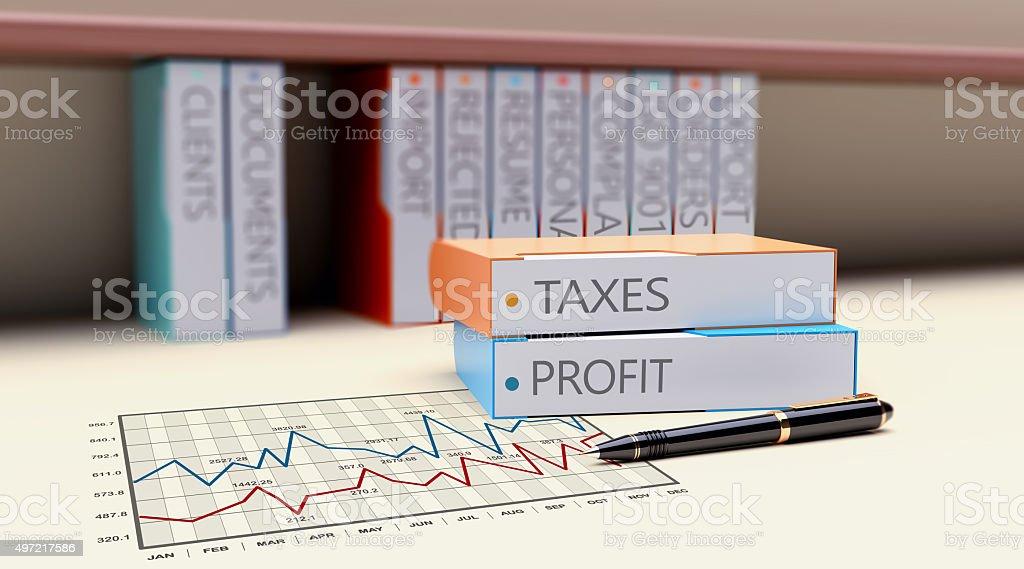 Office folders taxes stock photo