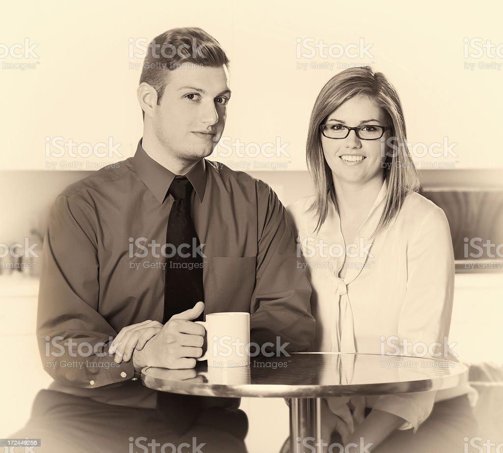 Office Friends at Coffee Break Faded Vintage Portrait royalty-free stock photo