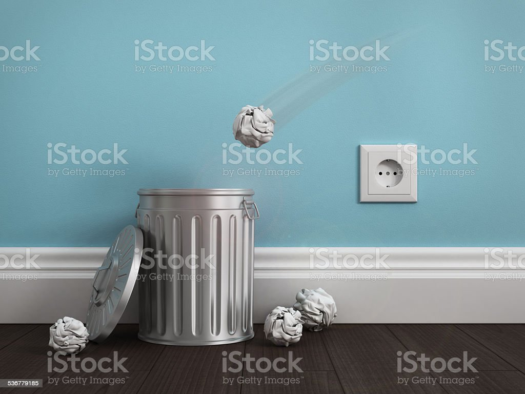 office garbage near metal basket stock photo