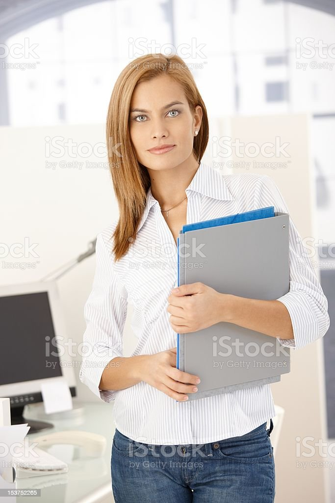 Office girl with folders stock photo