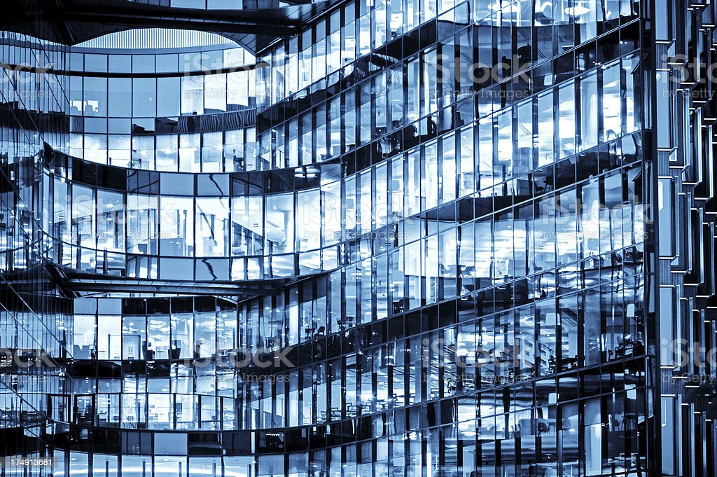 Office Glass Building at night royalty-free stock photo