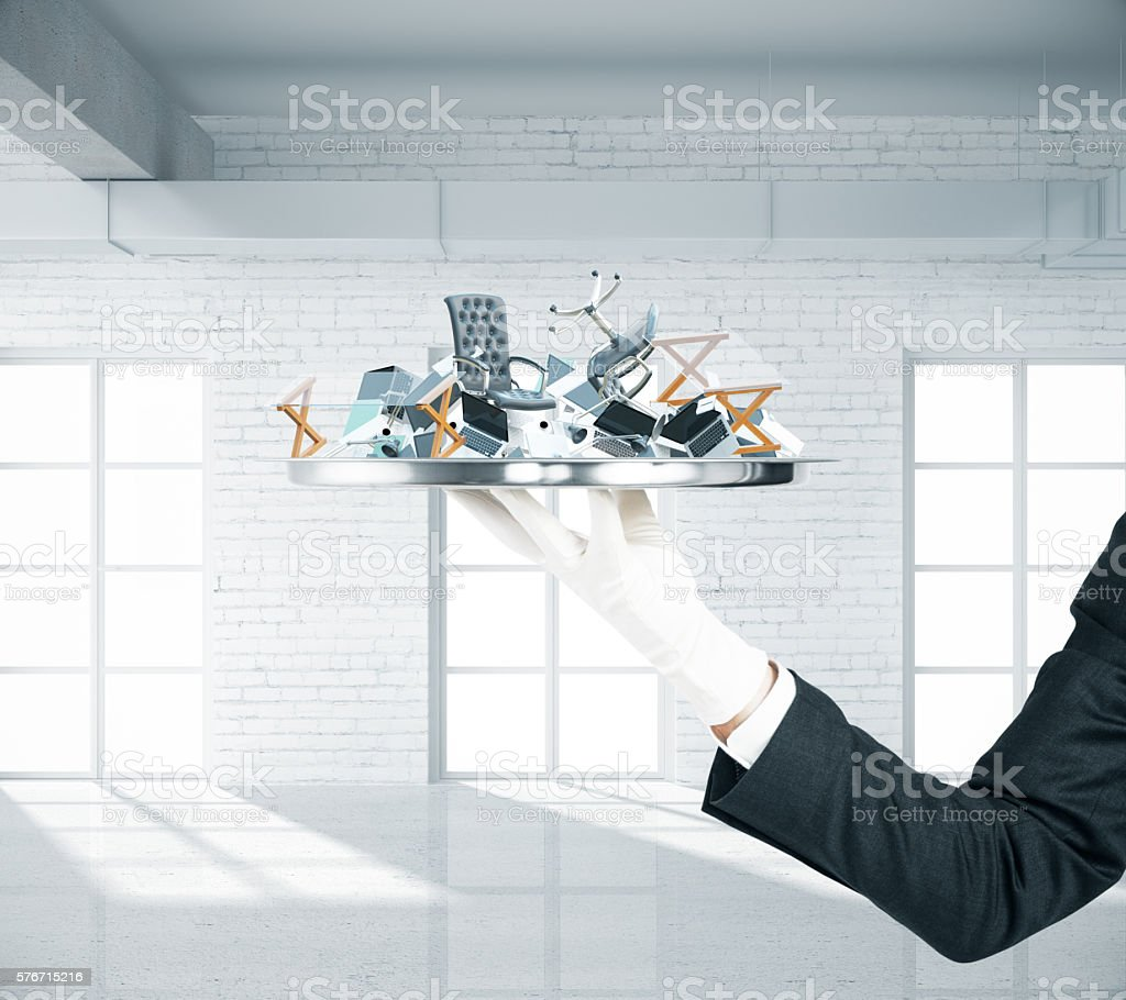 Office goods on tray stock photo