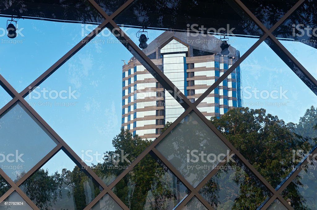 Office High Rise Behind Partition stock photo