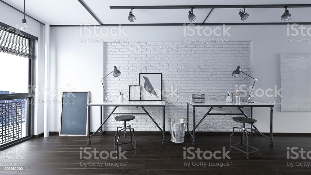 Office in an industrial interior stock photo
