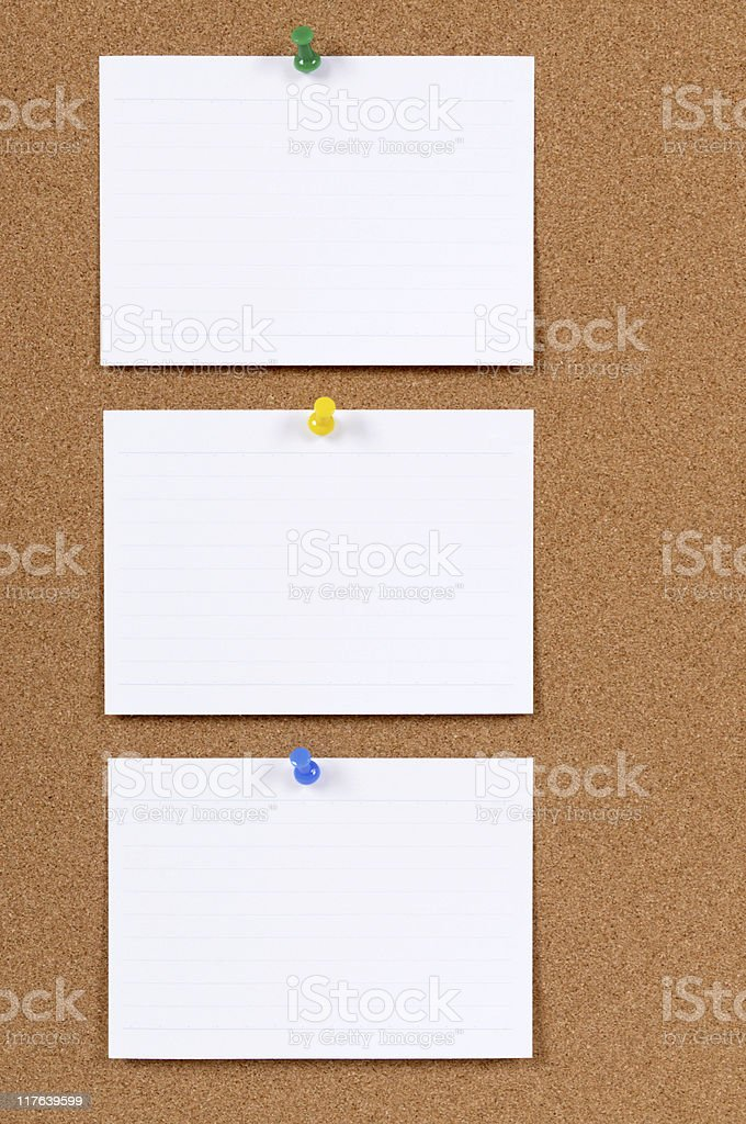 Office index cards on a bulletin board (XL) stock photo