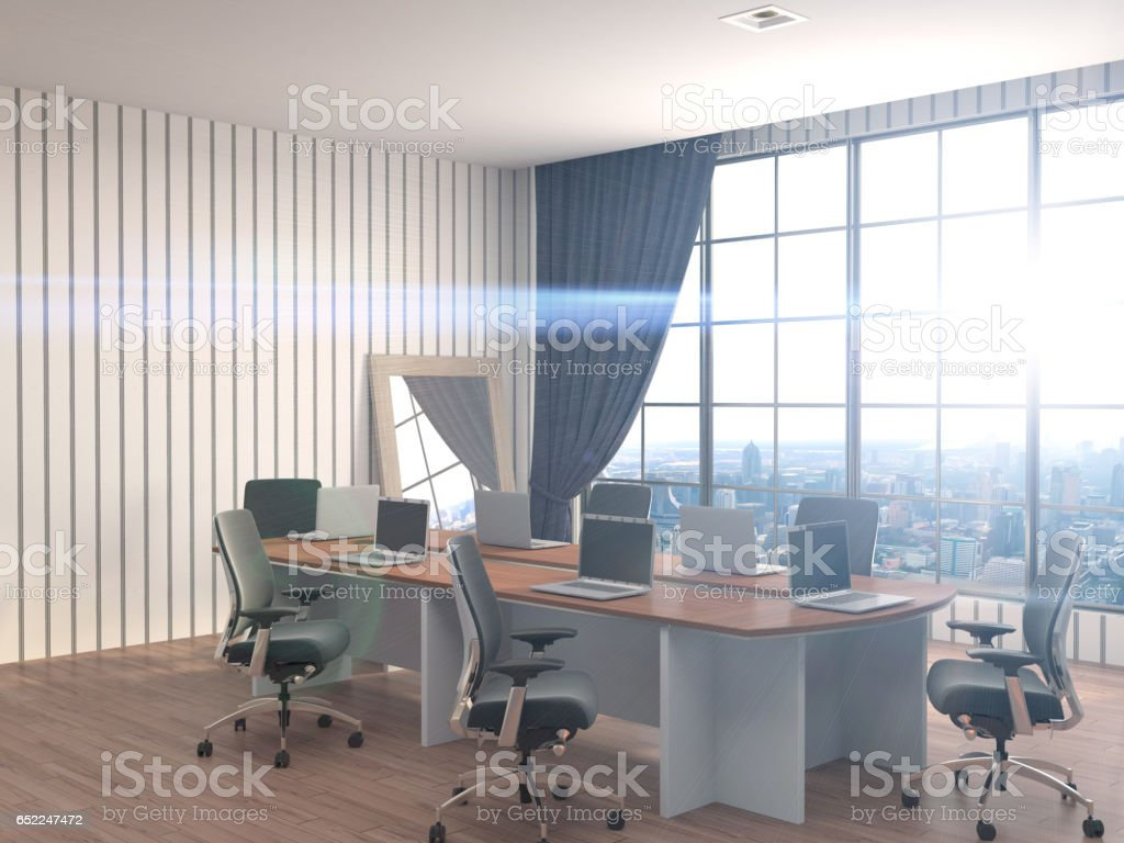 Office interior. 3D Illustration stock photo