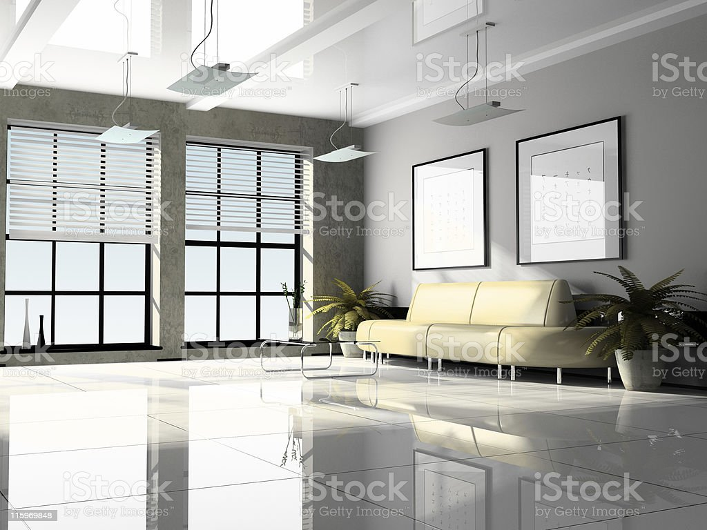 Office interior 3D rendering royalty-free stock photo