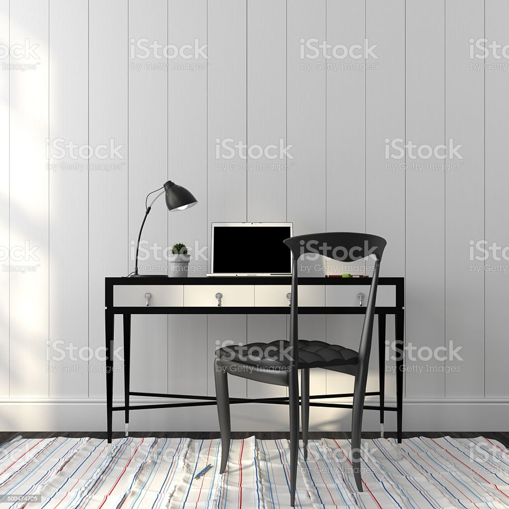 Office interior in a stylish black and white colors stock photo