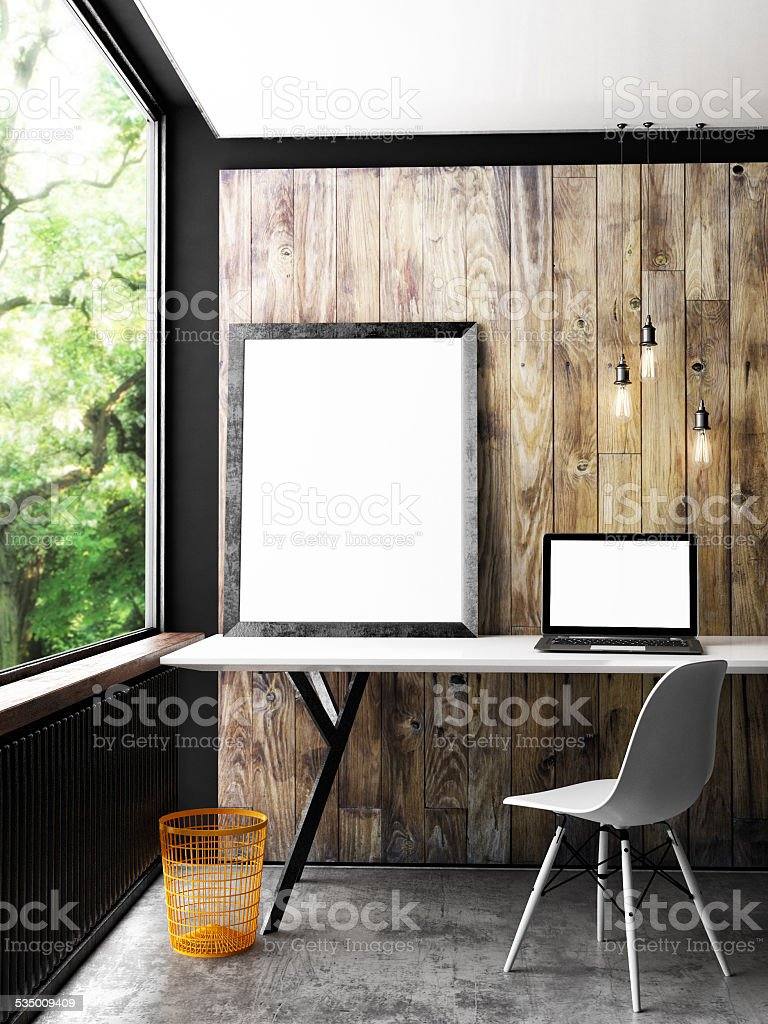 Office interior mock up poster, 3d illustration stock photo