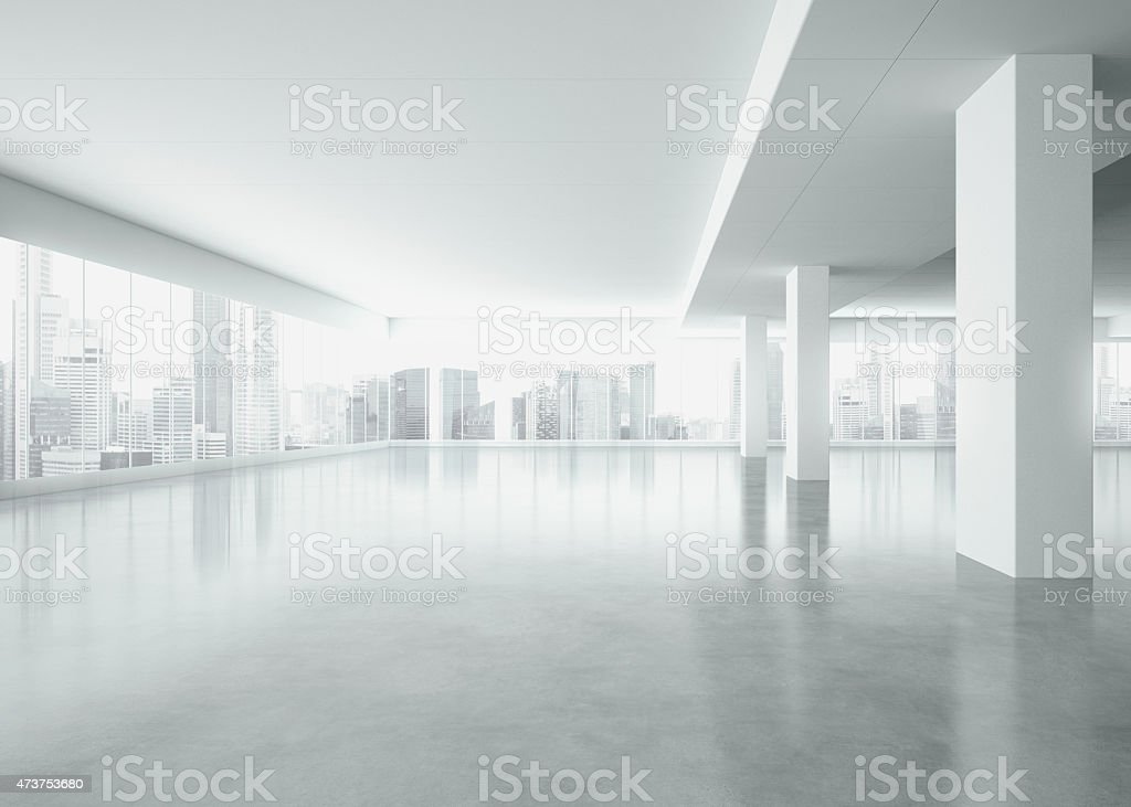 Office interior with large windows . 3d render stock photo