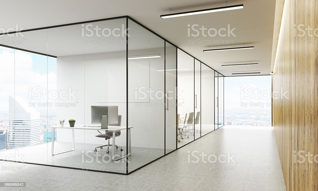 Office interior with NY view stock photo