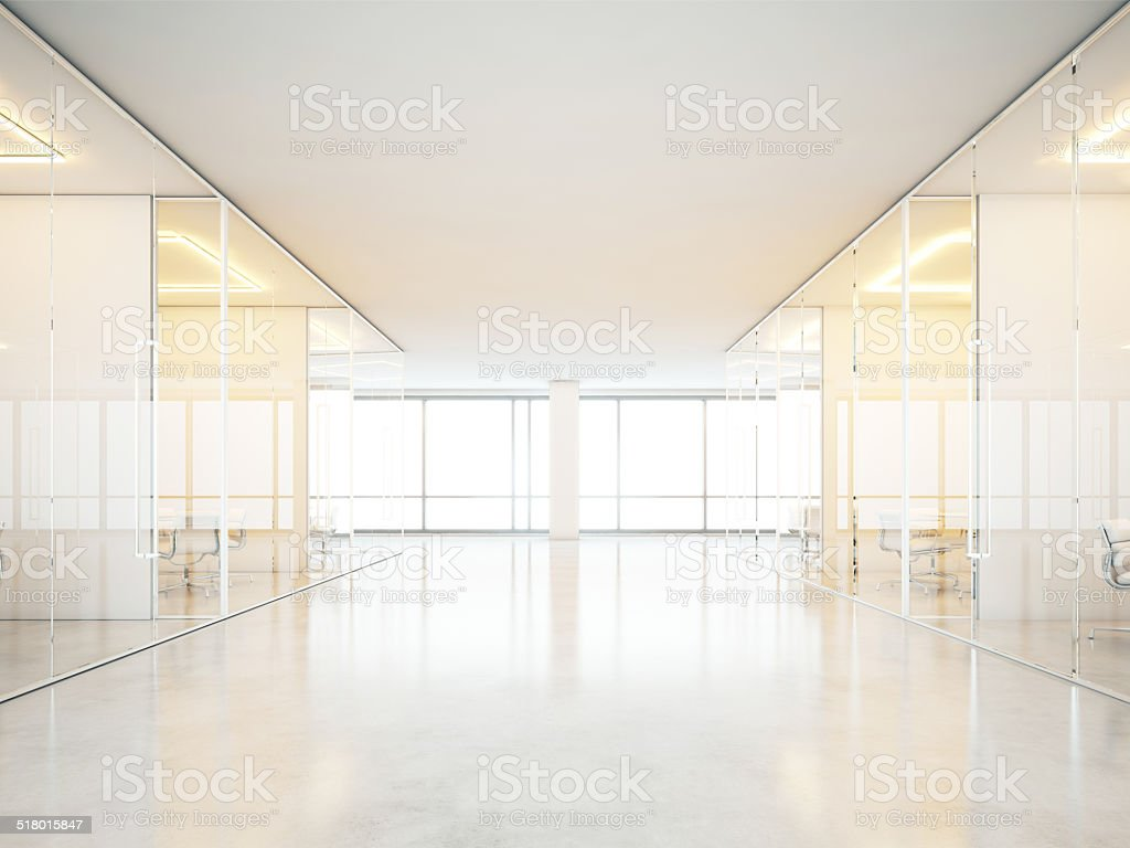 Office interior with white furniture stock photo