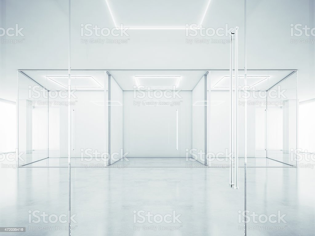 Office interior with white walls. 3D rendering stock photo