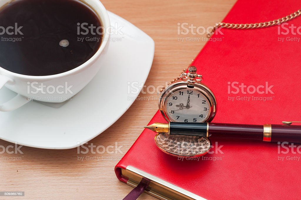 Office items and coffee stock photo