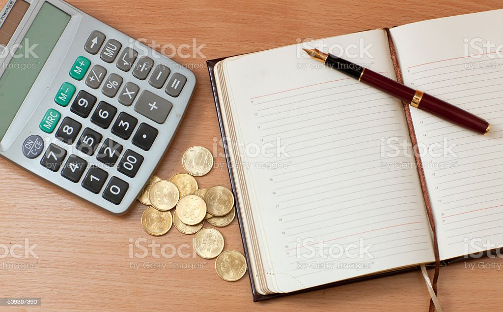 Office items on table stock photo