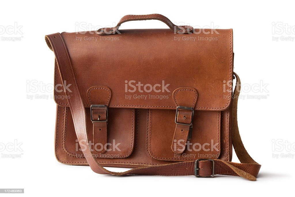 Office: Leather School Bag royalty-free stock photo