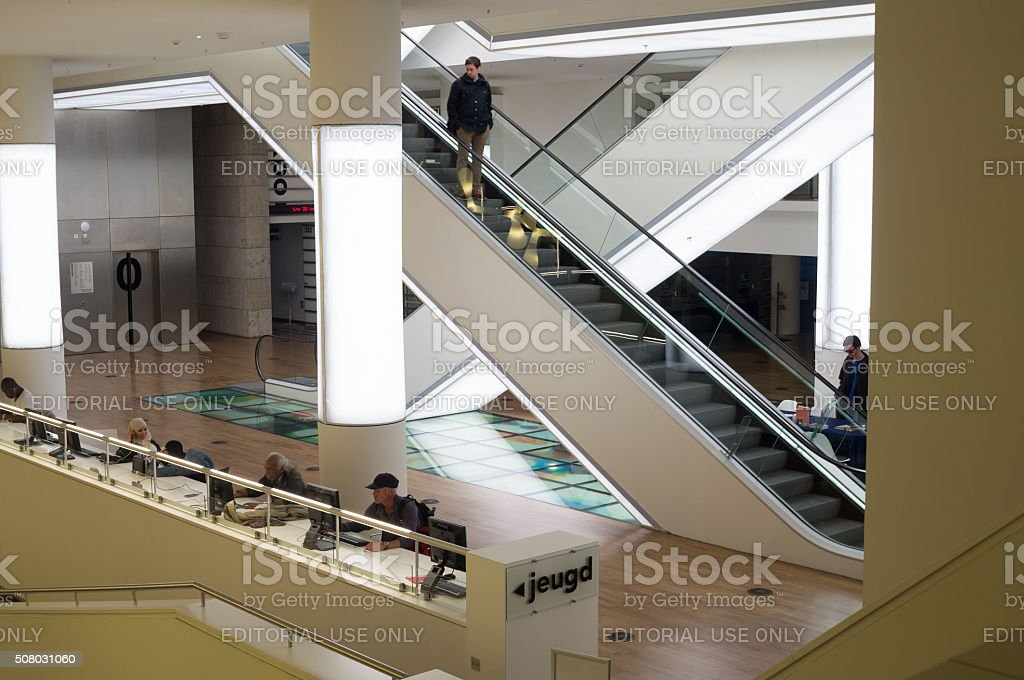 Office Library modern view in Amsterdam stock photo