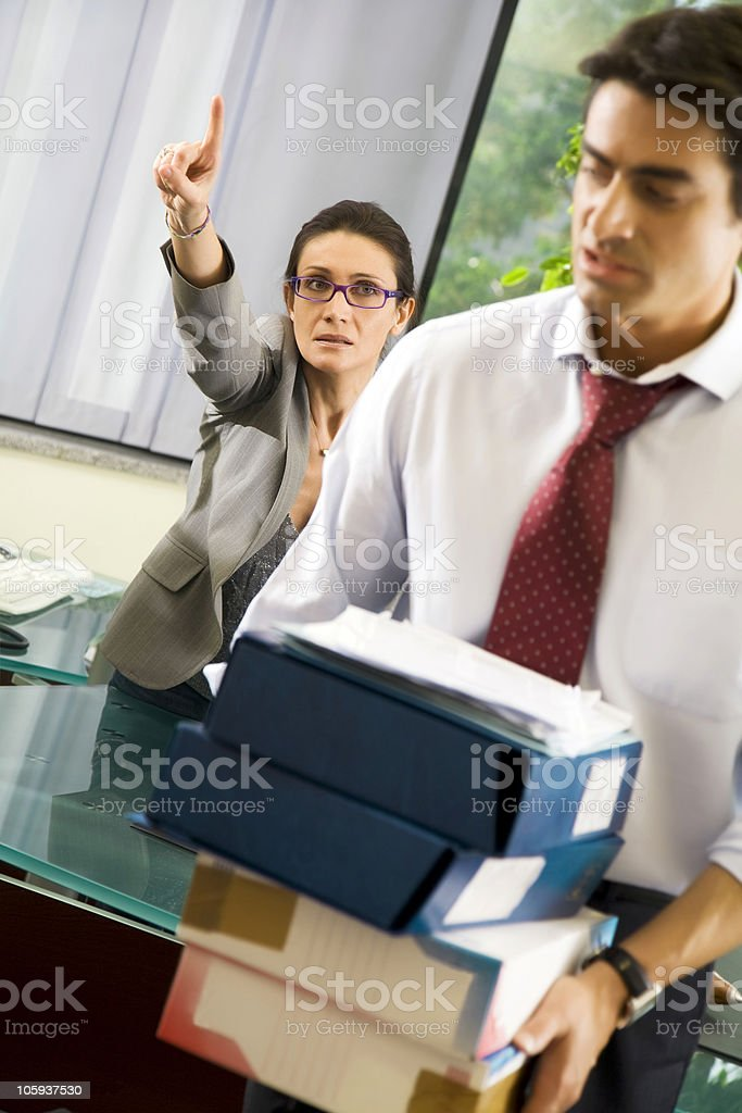 Office life: business team having a fight royalty-free stock photo
