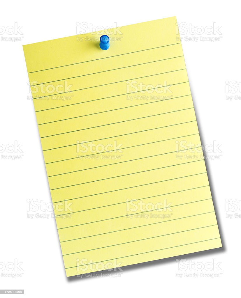 Office lined sticky note isolated on white royalty-free stock photo