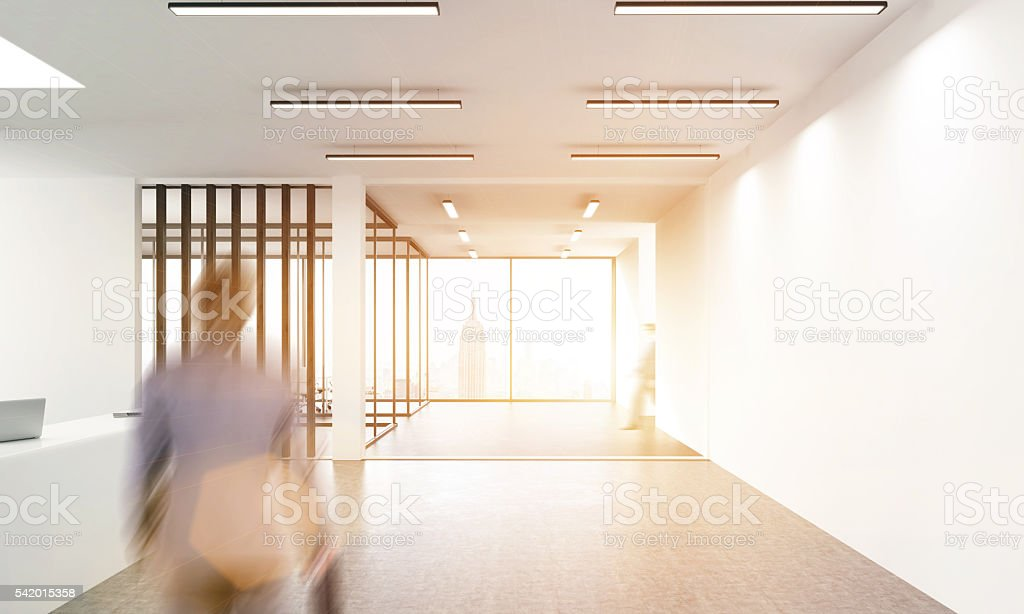 Office lobby with businessman stock photo