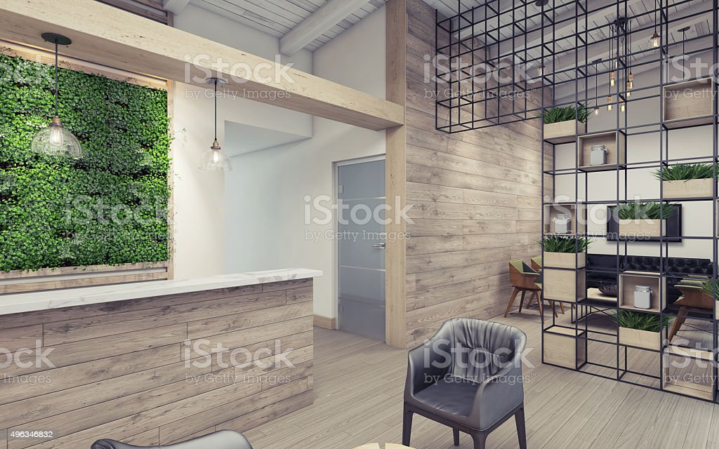 Office Lobby with Green Wall stock photo