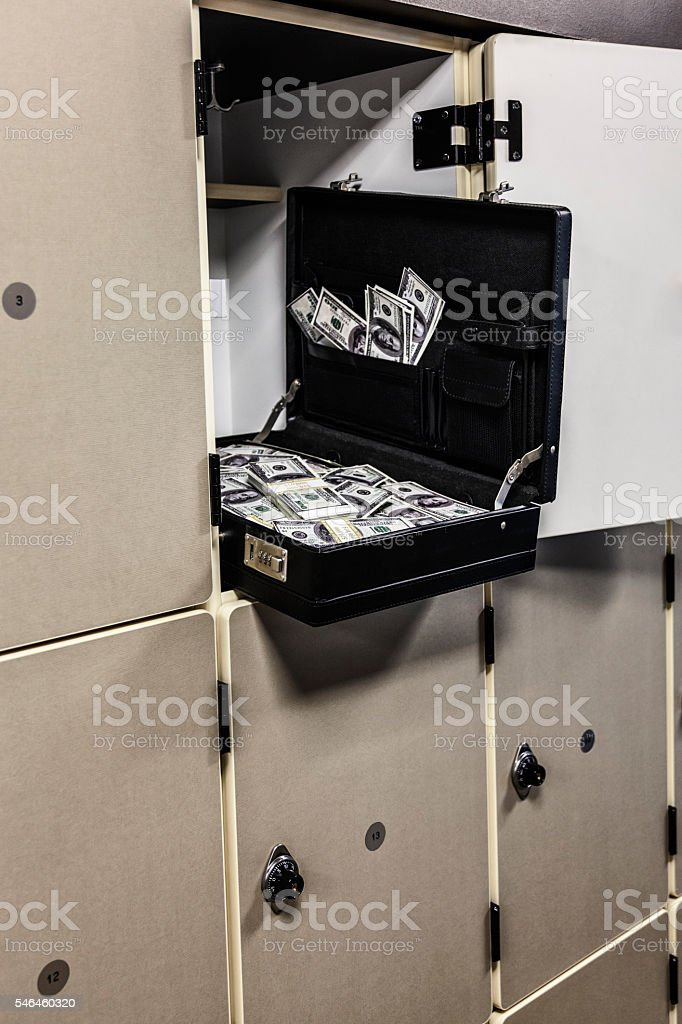 Office Locker Dark Money Open Briefcase stock photo