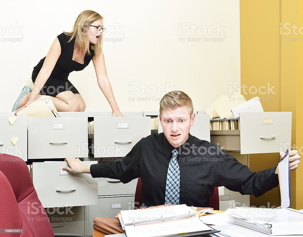 Office madness stock photo