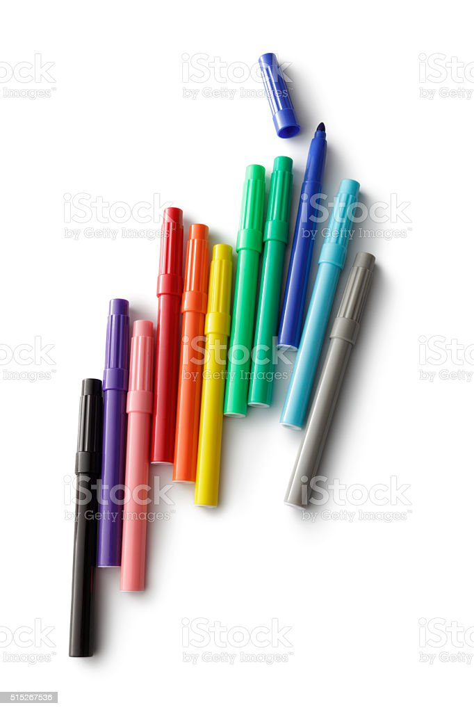 Office: Markers Isolated on White Background stock photo