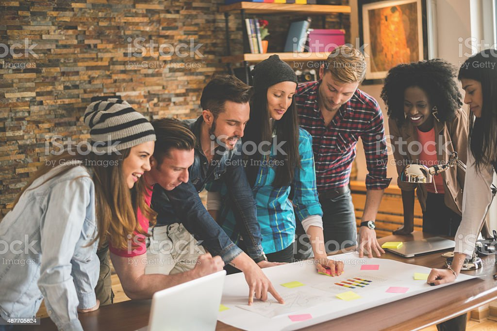 Office meeting or morning briefing stock photo