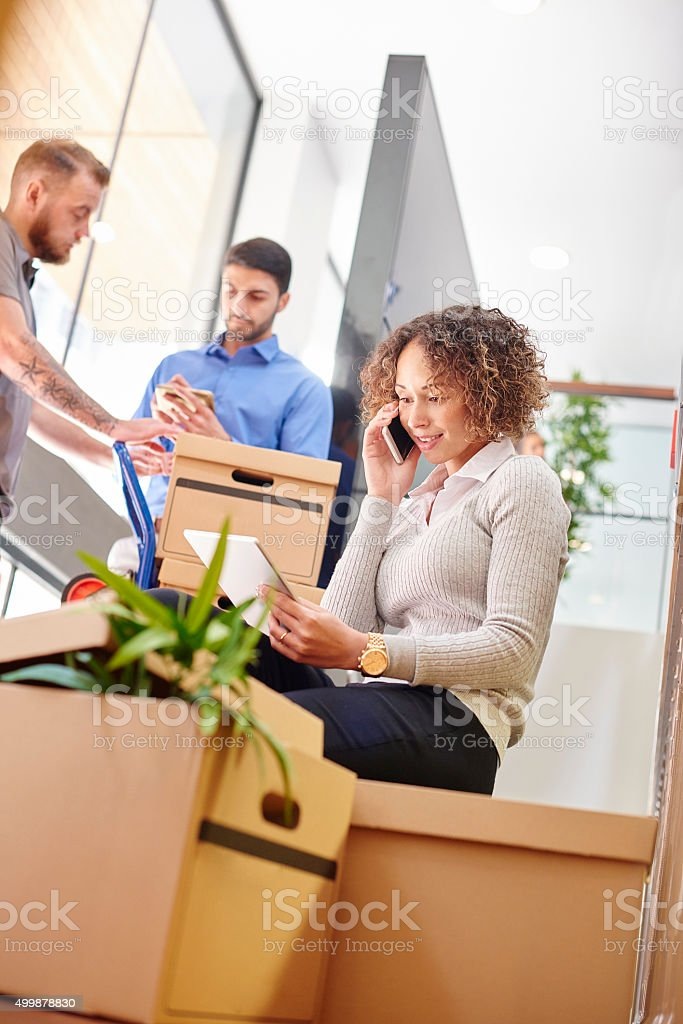 office move day stock photo