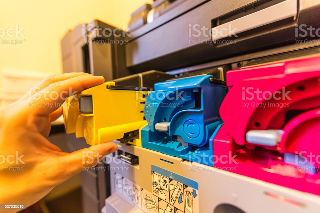 Office Multifunction Printer ink and cartridge stock photo