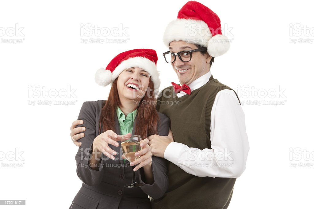 Office Nerd Helping Intoxicated Coworker at Christmas Party royalty-free stock photo