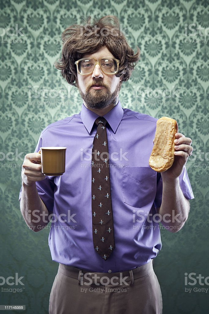 Office Nerd with Coffee and Donut royalty-free stock photo