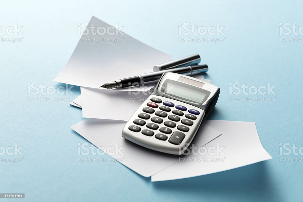 Office: Note Pad, Calculator and Pen royalty-free stock photo