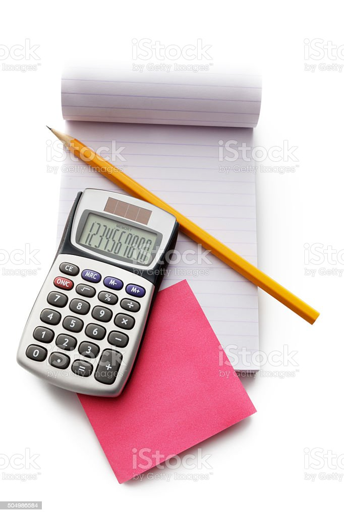 Office: Notebook, Calculator, Pencil and Sticky Note stock photo