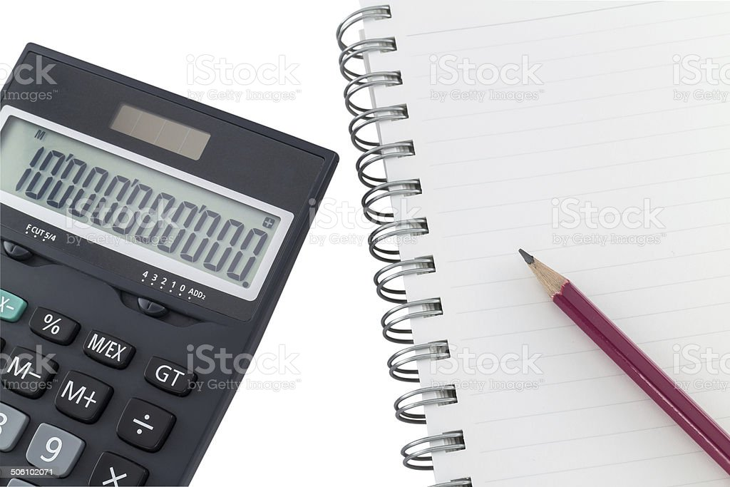 Office notebook isolated on white background stock photo
