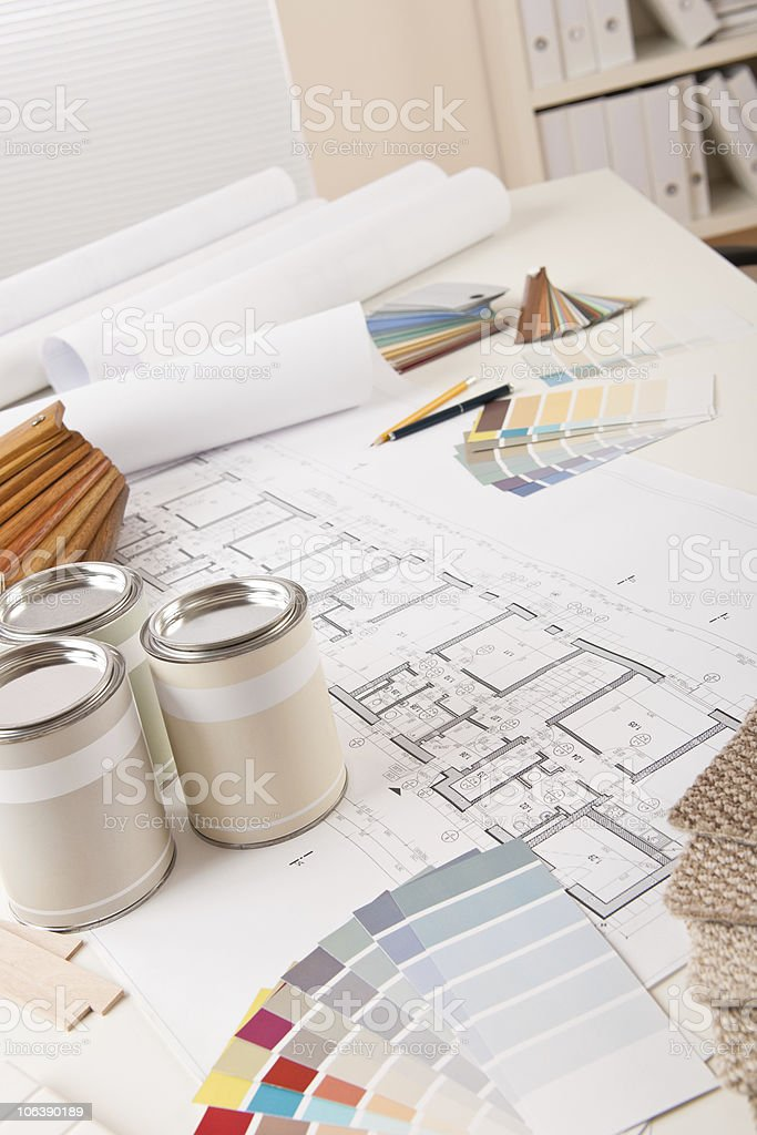 Office of Successful interior designer with paint and color swatch royalty-free stock photo