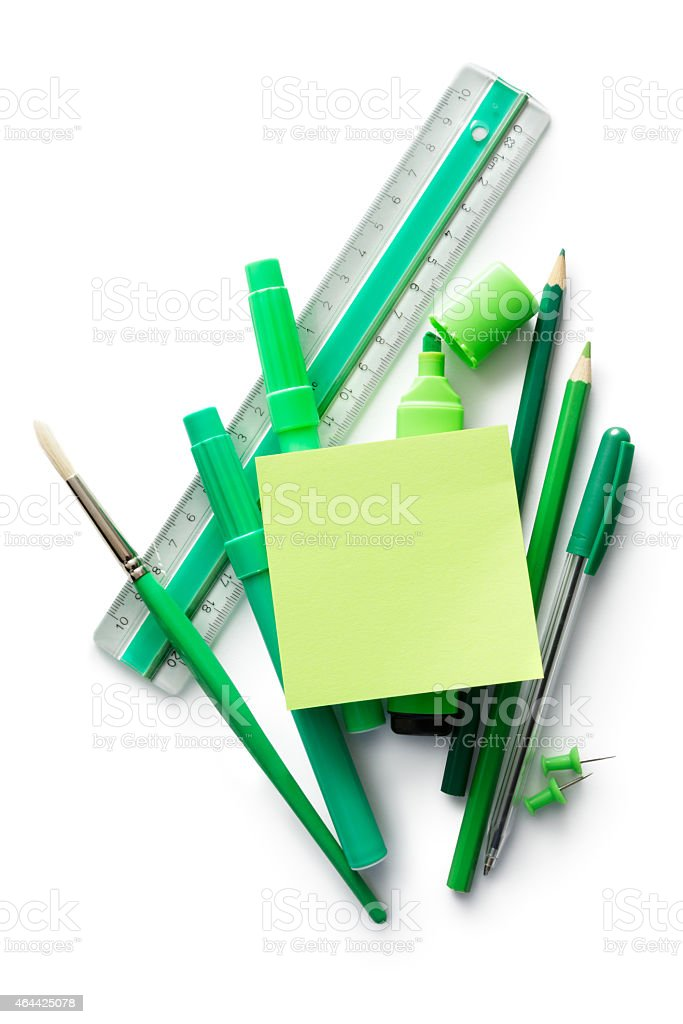 Office: Office Supplies and Adhesive Note stock photo