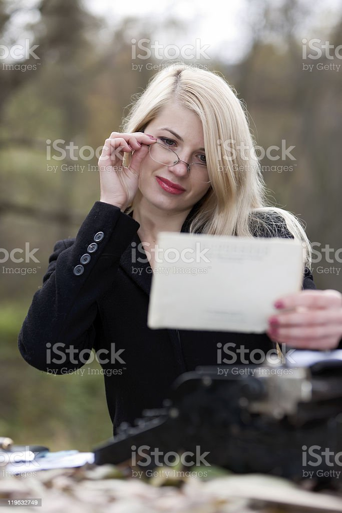 Office on the nature. stock photo