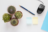Office or home table desk, top view. Small cacti, pen,