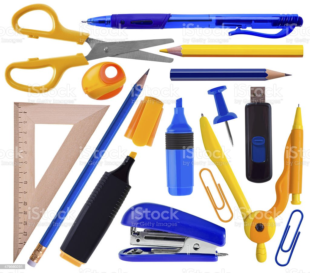 Office or school supplies set isolated on white stock photo