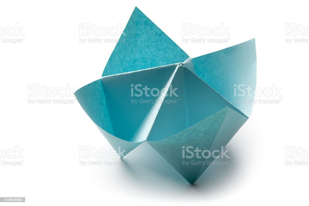 Office: Paper Fortune Teller Isolated on White Background stock photo