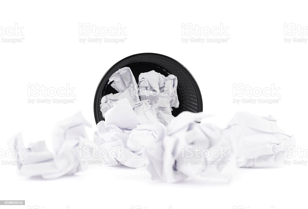 Office paper trash bin isolated stock photo