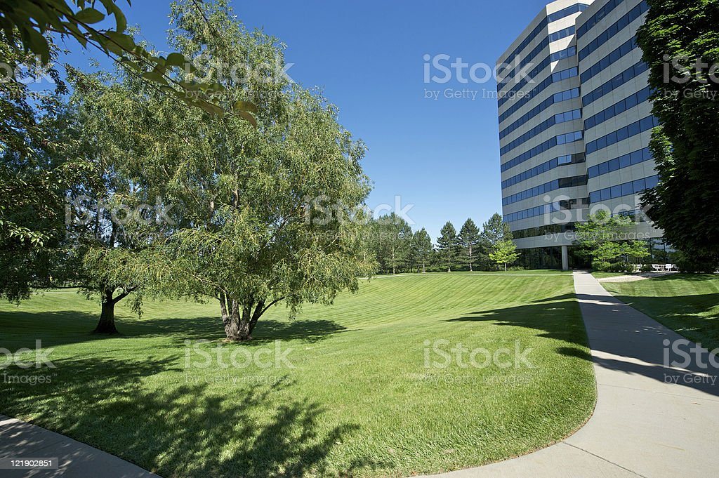 Office park greenbelt stock photo