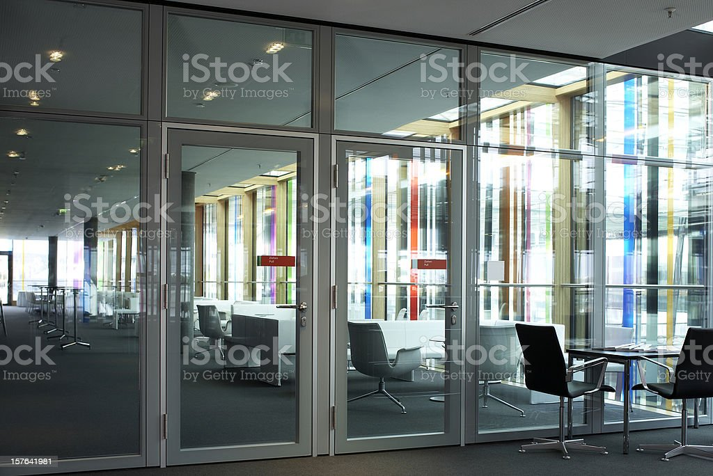 Office park lobby with a row of meeting chairs stock photo
