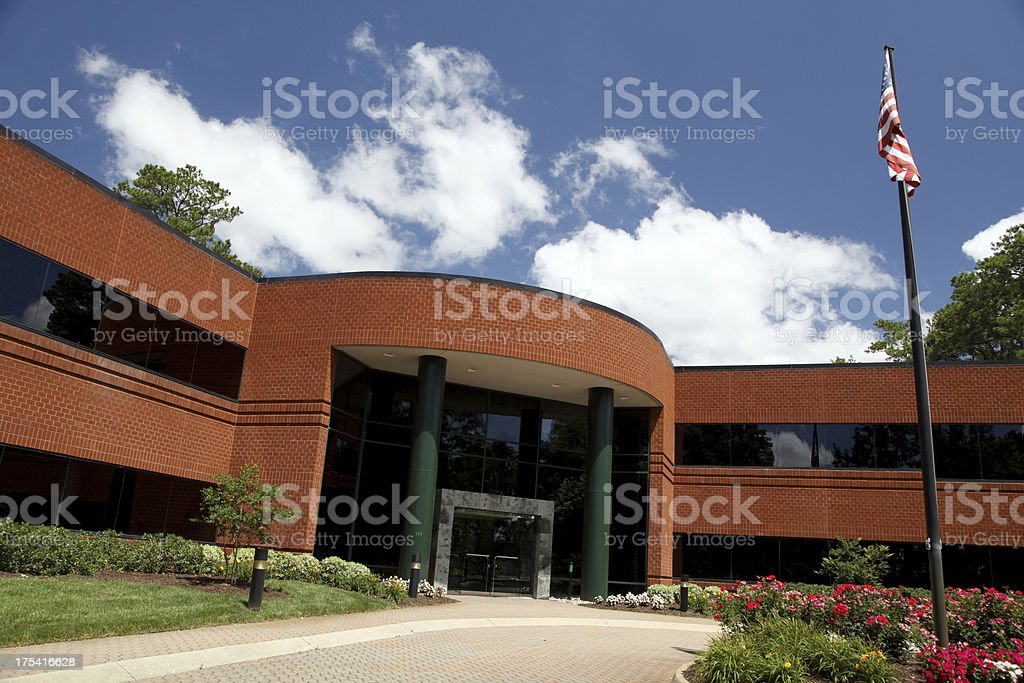 Wide angle view of an office building.