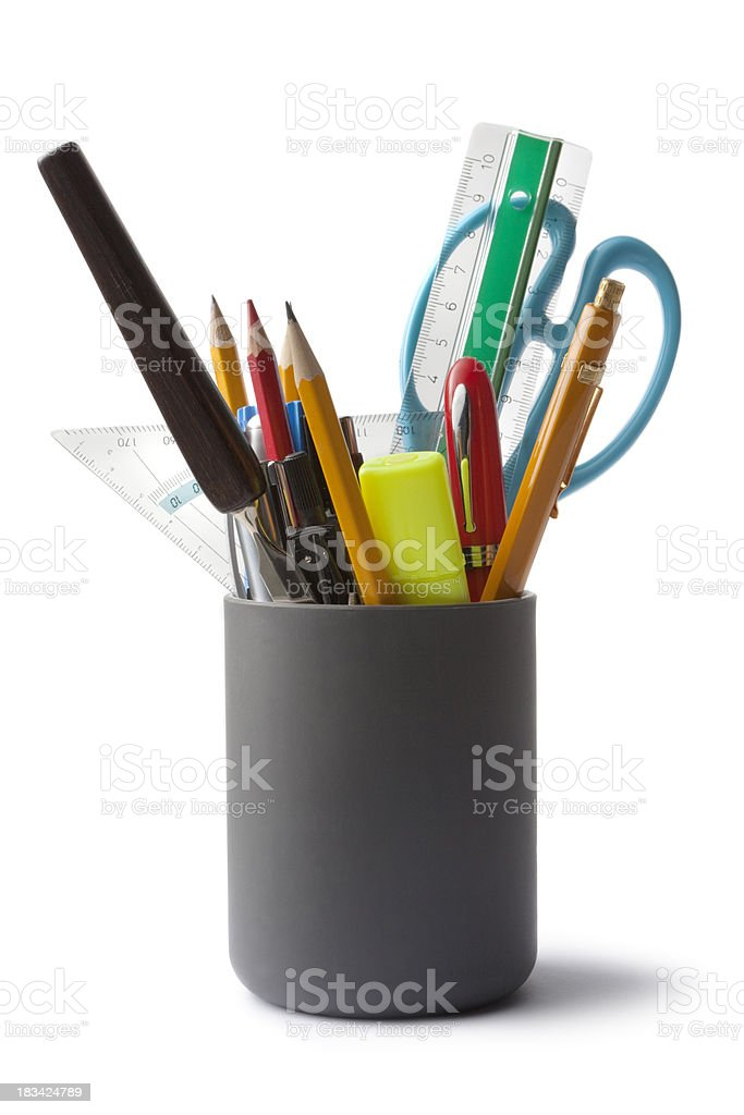 Office: Pencil Holder with Contents stock photo