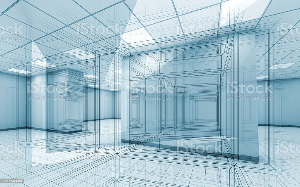 Office room interior background with wire-frame lines vector art illustration