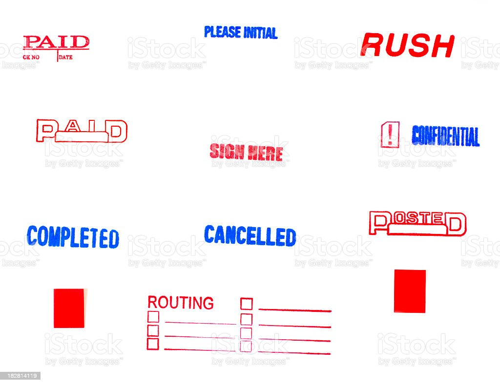 Office rubber stamps on white.  Rush, paid, completed royalty-free stock photo
