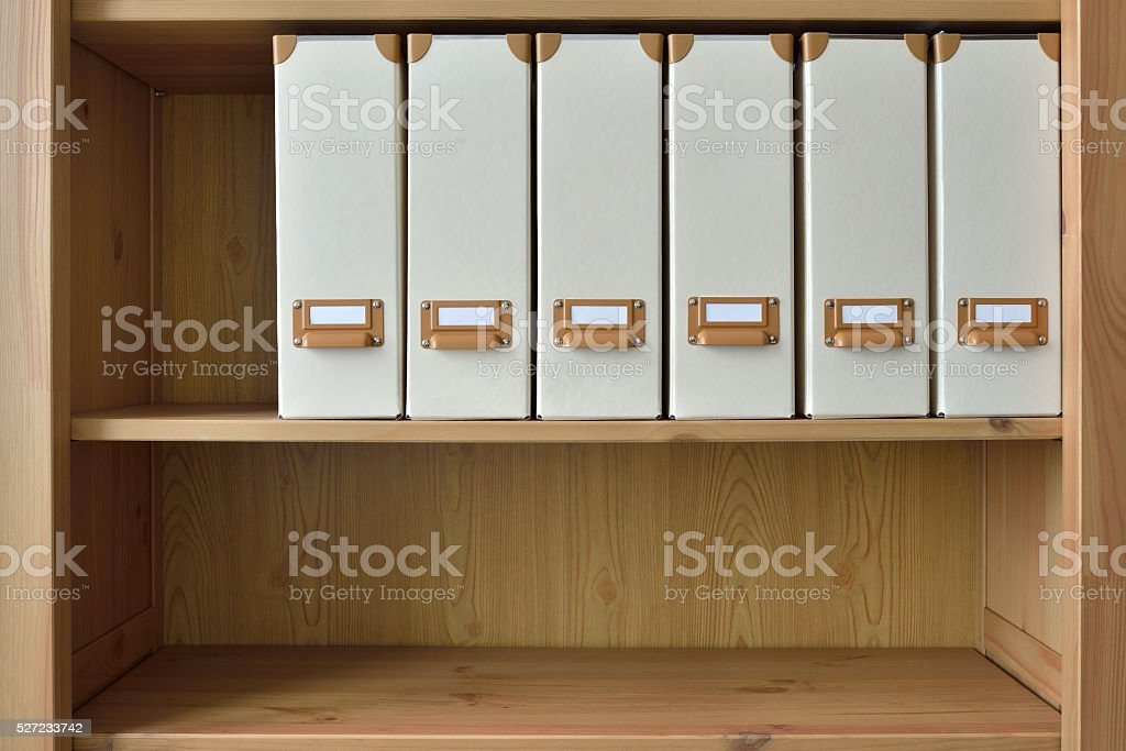 Office shelf background with folders stock photo